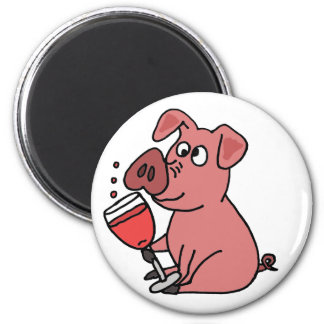 Funny Pink Drinking Wine 6 Cm Round Magnet