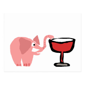 Funny Pink Elephant Drinking Red Wine Postcard