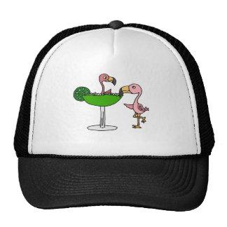 Funny Pink Flamingo and Margarita Cap