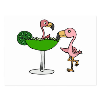 Funny Pink Flamingo and Margarita Postcard