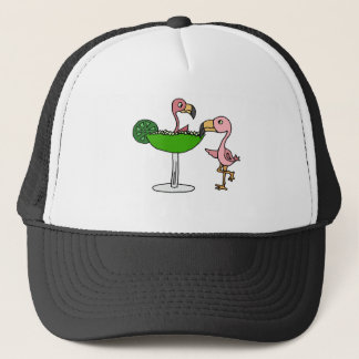 Funny Pink Flamingo and Margarita Trucker Hat