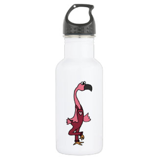 Funny Pink Flamingo Bird in Pink Overalls 532 Ml Water Bottle