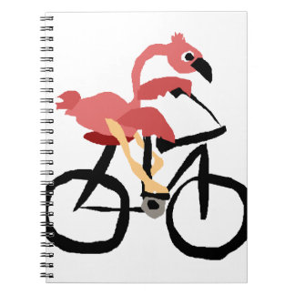 Funny Pink Flamingo Bird on Bicycle Notebooks