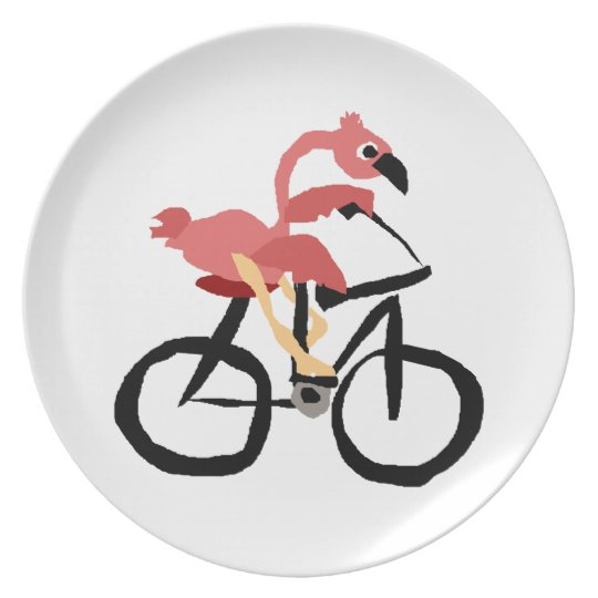 Funny Pink Flamingo Bird on Bicycle Plate