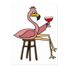 Funny Pink Flamingo Drinking Red Wine Postcard