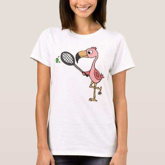 Funny Pink Flamingo Playing Tennis T-Shirt