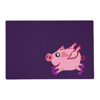 Funny Pink Flying Pig Cartoon Laminated Place Mat