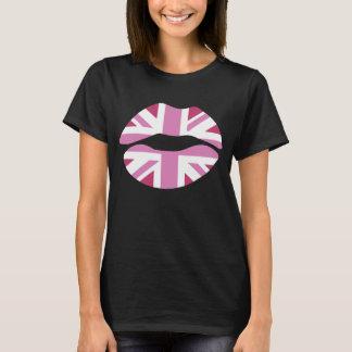 funny pink lips,uk lips,pink union jack T-Shirt