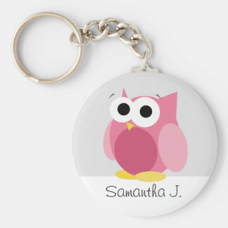 Funny Pink Owl - Personalised Keychain