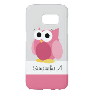Funny Pink Owl - Personalised Samsung Galaxy S7