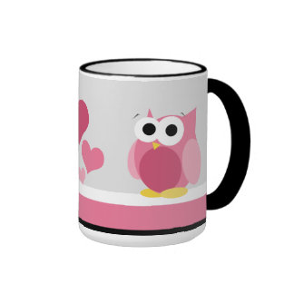 Funny Pink Owl with Hearts - 15 oz mug