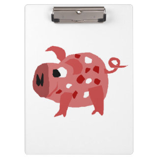 Funny Pink Pig Original Art Clipboard