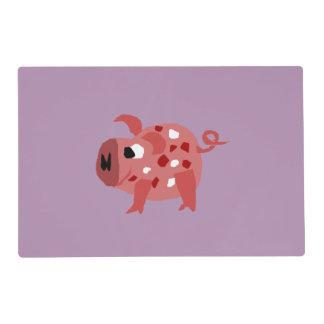 Funny Pink Pig Original Art Laminated Place Mat