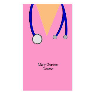 Funny Pink Scrubs and Stethoscope Medical Doctor Double-Sided Standard Business Cards (Pack Of 100)