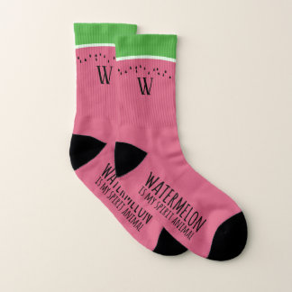 Funny Pink Watermelon is my Spirit Animal Socks