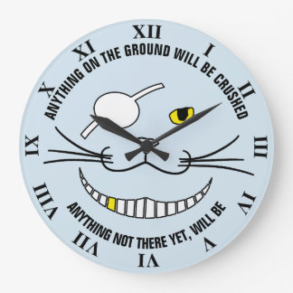 Funny Pirate Black Smiling Cat With An Eye Patch Large Clock