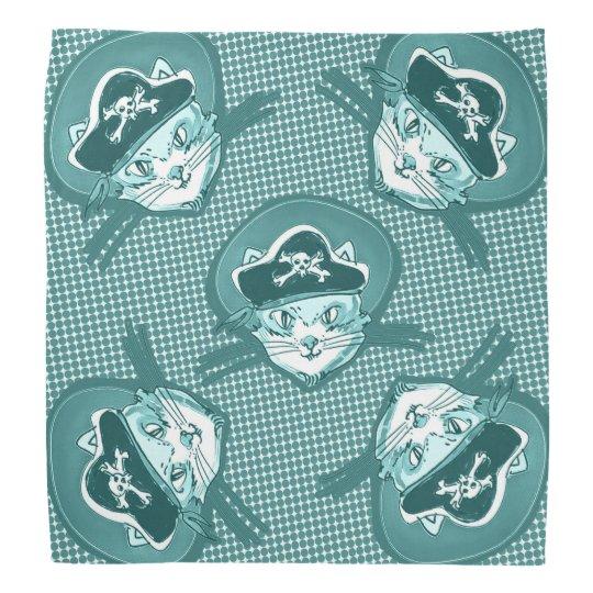 funny pirate cat cartoon halftone dot bandana