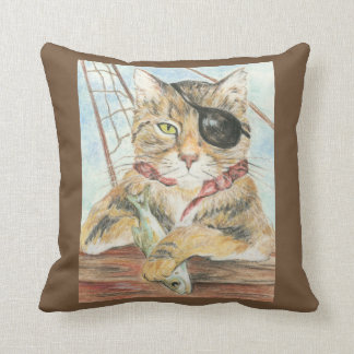 Funny Pirate Cat Eye Patch Cartoon Pillow