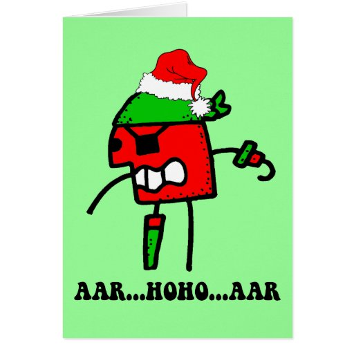 Funny pirate Christmas Greeting Cards