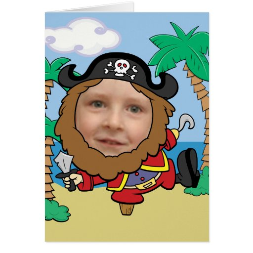 Funny Pirate Cut Out Face Template Greeting Cards