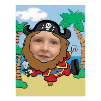 Funny Pirate Cut Out Face Template Postcard