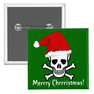 Funny Pirate Merry Christmas Greeting Arrrgh Matey 15 Cm Square Badge