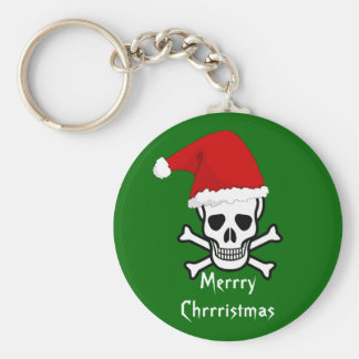 Funny Pirate Merry Christmas Greeting Arrrgh Matey Basic Round Button Key Ring