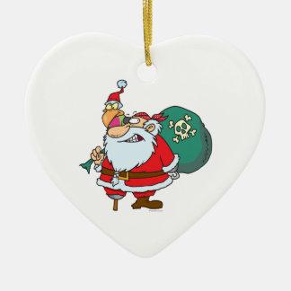 funny pirate santa and xmas parrot cartoon christmas ornament