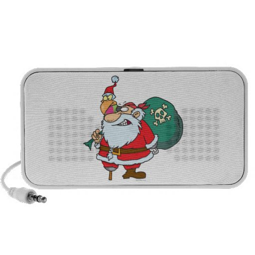 funny pirate santa and xmas parrot cartoon mp3 speakers