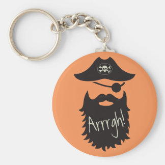 Funny Pirate with Eyepatch Arrrgh! Basic Round Button Key Ring