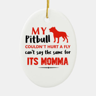 Funny Pit-bull Mommy designs Christmas Ornament