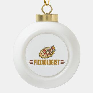 Funny Pizza Ceramic Ball Christmas Ornament