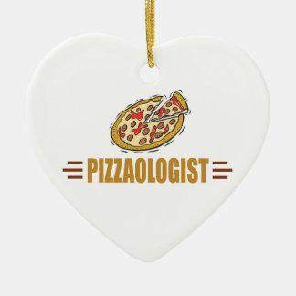 Funny Pizza Ceramic Heart Decoration