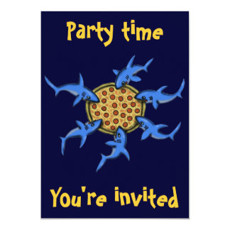 Funny pizza eating sharks party invitation card