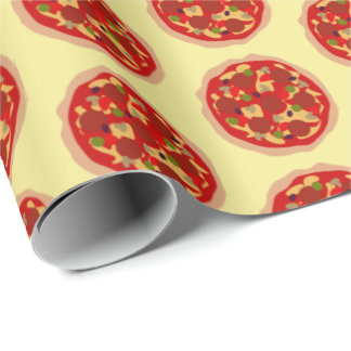 Funny pizza pattern Birthday party wrapping paper