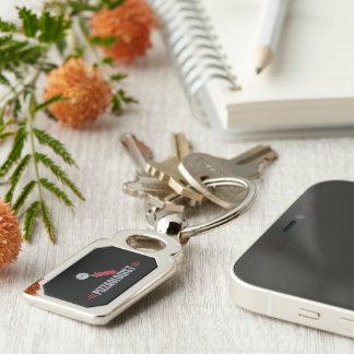 Funny Pizza Silver-Colored Rectangle Key Ring