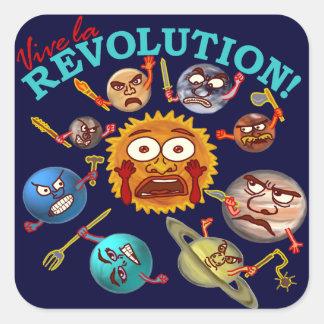 Funny Planet Revolution Solar System Cartoon Square Stickers