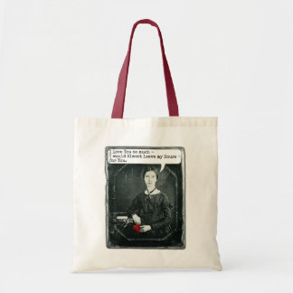 Funny Poet Emily Dickinson Valentine's Day Tote Bags
