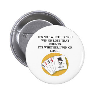 funny poker bridge card player design 6 cm round badge