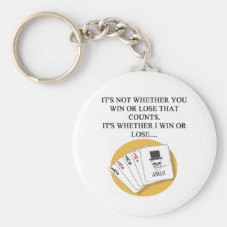 funny poker bridge card player design key ring