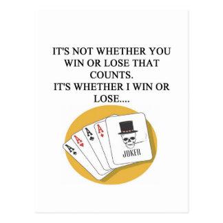 funny poker bridge card player design postcard