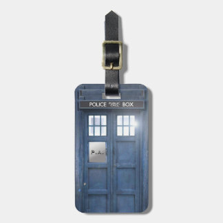 Funny Police Box travellers with monogram Luggage Tag