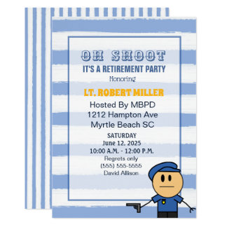 Funny  Police Officer Retirement Party Invitation