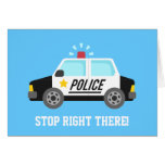 Funny Police Patrol Car Happy Birthday Greeting Card