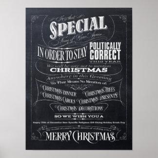 Funny Politically Correct Chalk Christmas Poster