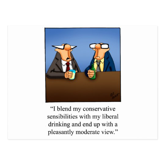 Funny Politics and Drinking Cartoon Gift! Postcard