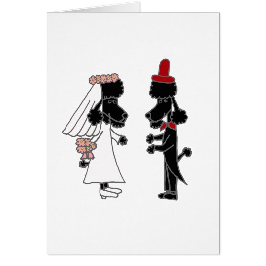 Funny Poodle Bride and Groom Wedding Card