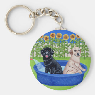 Funny Pool Party Labradors Key Ring