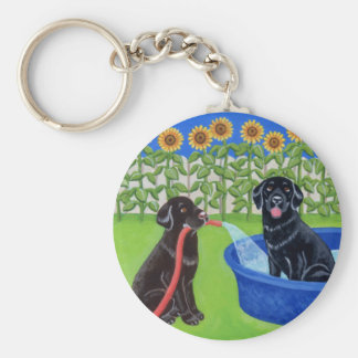 Funny Pool Party Labradors Basic Round Button Key Ring