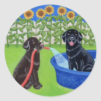 Funny Pool Party Labradors Round Sticker
